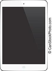 ipad, style, tablette, illustration, signe, -, gadget, icônes, tampon, vector., blanc