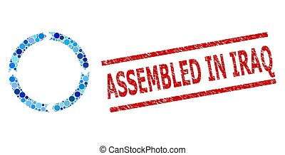 irak, rotation, mosaïque, impression, assemblé, textured, timbre, cercles