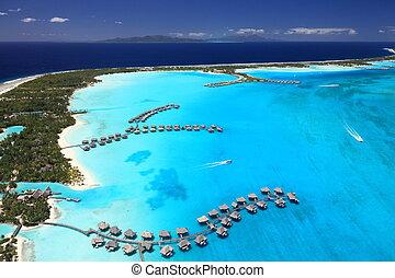 irréel, polynésie, quelques-uns, vue, francais, lagune, above., bora, overwater, pavillons, colors.