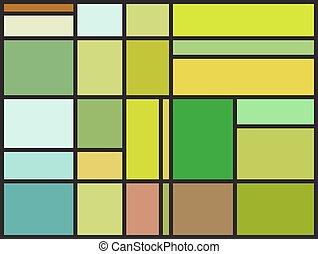 irrégulier, modèle, taché, multicolore, fenêtre verre, bloc