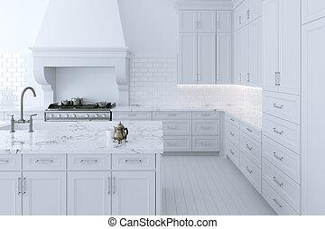 island., render, cuisine, coffret cuisine, blanc, luxueux, 3d