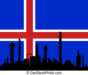 islande, industrie, drapeau