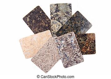 isolé, échantillons, granit, blanc, worktop, cuisine