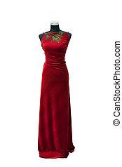 isolé, élégant, mannequin, robe blanche, rouges
