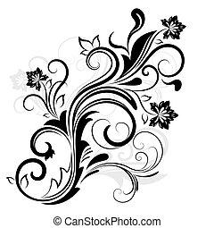 isolé, élément, conception, white., floral, noir, blanc