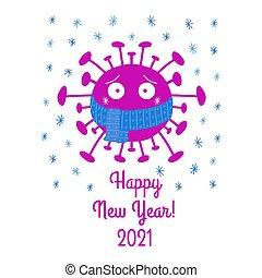 isolé, année, illustration., arrière-plan., nouveau, écharpe, heureux, coronavirus, dessin animé, 2021., vecteur, snowflakes., bactérie, bleu, blanc, stockage
