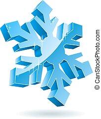 isolé, arrière-plan., vecteur, snowflake blanc, 3d