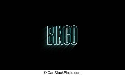isolé, beau, néon, arrière-plan animation, mot, texte, loto, bingo.