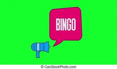 isolé, beau, style, parole, animation, retro, fond, porte voix, texte, loto, bingo., bulle