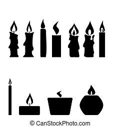 isolé, bougies, ensemble, vecteur, fond, blanc
