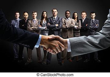 isolé, business, poignée main
