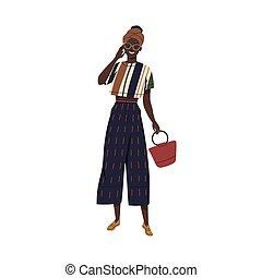 isolé, caractère, jeune femme, gai, porter, clothes., outfit., été, blanc, turban., femme, plat, vecteur, élégant, illustration, mode, africaine, mode, démontrer, américain, dessin animé