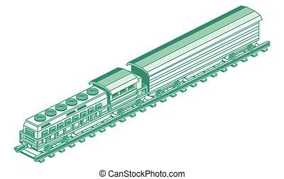 isolé, cargaison, illustration., vecteur, locomotive., white., contour, isométrique, train