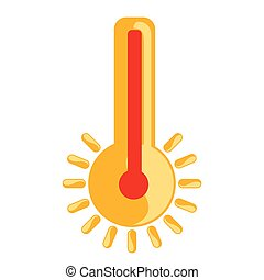isolé, chaud, icône, thermomètre