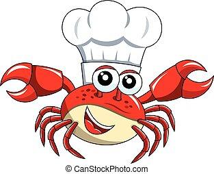 isolé, chef cuistot, crabe, cuisinier, chapeau, mascotte