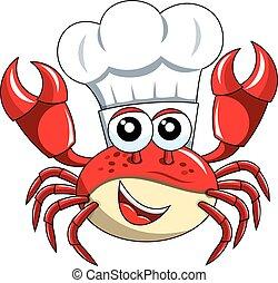 isolé, chef cuistot, crabe, cuisinier, mascotte, chapeau, heureux