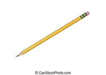 isolé, crayon, jaune