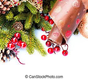 isolé, décoration, décorations, blanc, vacances, noël