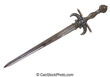 isolé, diagonal, dehors., épée, coupure, arrière-plan., disposé, blanc
