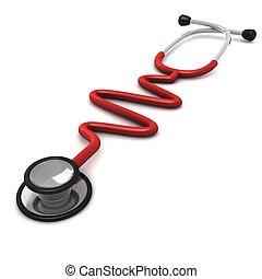 isolé, engendré, informatique, stéthoscope, fond, blanc rouge