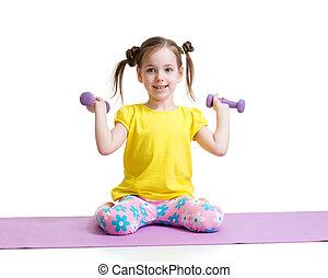 isolé, exercisme, fond, enfant, actif, blanc
