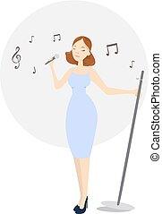 isolé, femme, singer.