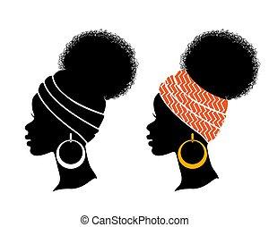 isolé, femmes, africaine, vecteur, américain, noir, blanc, ensemble, têtes, silhouette., profil