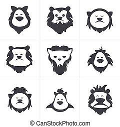 isolé, figure, lion, vecteur, noir, blanc, icône