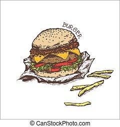 isolé, fond blanc, hamburger