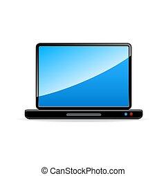 isolé, fond, blanc, ordinateur portable