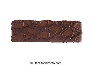 isolé, gâteau, vue, barre chocolat, sommet