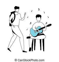 isolé, guitare, hommes, icône