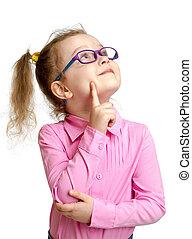 isolé, haut, regarder, enfant, blanc, adorable, lunettes