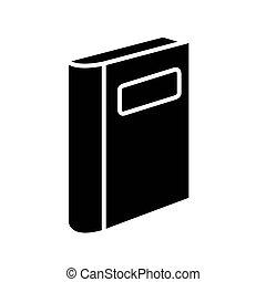 isolé, icône, livre, fermé, étiquette, conception, vecteur, style, silhouette