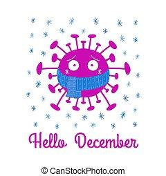 isolé, illustration., arrière-plan., écharpe, december., coronavirus, bonjour, dessin animé, vecteur, snowflakes., bactérie, bleu, blanc, stockage