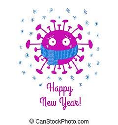 isolé, illustration., arrière-plan., nouveau, écharpe, heureux, coronavirus, year., dessin animé, vecteur, snowflakes., bactérie, bleu, blanc, stockage