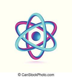 isolé, illustration, arrière-plan., vecteur, atome, blanc, 3d