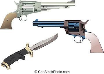 isolé, illustration, arrière-plan., vecteur, revolvers, couteau