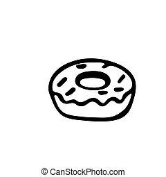 isolé, illustration, beignet, vecteur, fond, icône, blanc