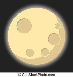 isolé, illustration, lune