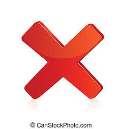isolé, illustration, signe, fond, croix, rouges