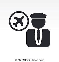 isolé, illustration, unique, vecteur, icône, pilote