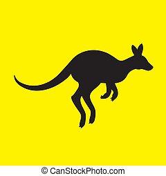 isolé, kangourou, silhouette, jaune, arrière-plan., animal, image, vecteur