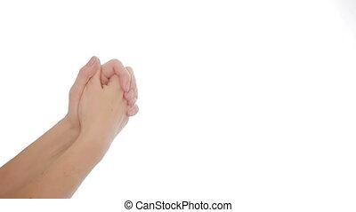isolé, main, gestes, white., femelle transmet