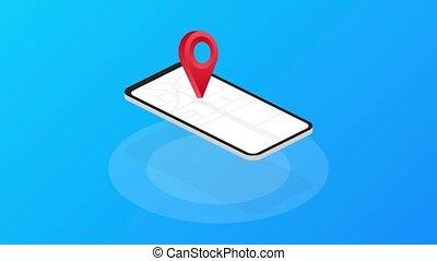 isolé, moved., avoir, arrière-plan., bleu, nous, clipart, graphics., mouvement, image, en mouvement, signe., bureau