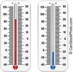 isolé, norme, arrière-plan., vecteur, gabarit, thermomètre, blanc