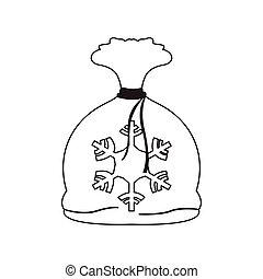 isolé, objets, sack., santa, présent noël