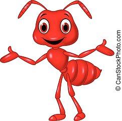 isolé, onduler, dessin animé, fourmi rouge