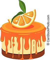 isolé, orange, blanc, gâteau
