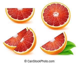 isolé, oranges, sanguine